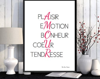 Love illustration poster, French love quote, Poster quote, Love gift, French quote print, Wall art decor, Printable wall art, Wall quote
