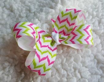 pink and green chevron boutique hair bow, hair clip or elastic headband, hair bow, little girl toddler hair bow