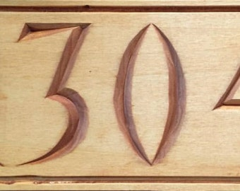 Hand-carved House Number Sign