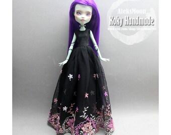 handmade Monster high doll long one piece black lace dress