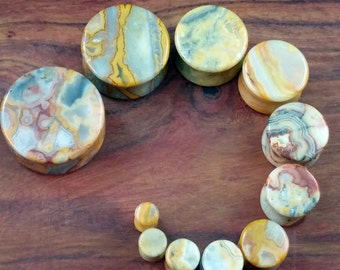 Pair of Crazy Lace Agate Plugs / Gauges For Stretched Ears (25mm, 22mm, 19mm, 16mm, 14mm, 12mm, 10mm, 8mm, 6mm, 5mm, 4mm)
