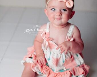 Peach Knot Bow Nylon headband, One size fits all nylon headband, baby headband, newborn photo prop, fabric bow, baby shower gift