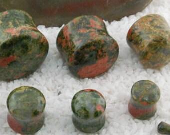 "Unakite stone plugs 8g (3mm), 6g (4mm), 4g (5mm), 2g (6mm), 0g (8mm), 00g (9.5mm), 7/16"" (11mm), 1/2"" (12.5mm), 9/16"" (14mm), 5/8"" (16mm)"