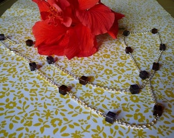 Jewel tones cubes and chain necklace