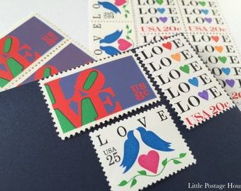 Colorful Love | Vintage Stamps | Unused Postage Stamps | For 5 Letters | 53 Cents