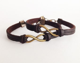 2 Infinity bracelet Bronze infinity symbol bracelet Brown leather bracelet Simple bracelet Bff bracelet