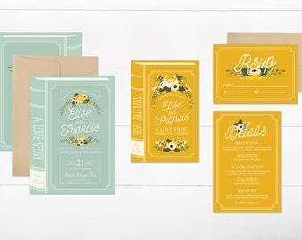 PRINTABLE Book Wedding Invitation Suite // Vintage Book Wedding // Storybook Wedding // Library Wedding // DIY // Wedding Invitation Bundle