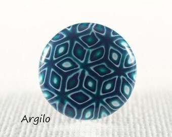"""Handmade Polymer Clay Ring Top """"Mokume in Green - Blue"""" (Large) One Of A Kind Polymer Clay Jewelry Ring Top For Interchangeable Ring"""