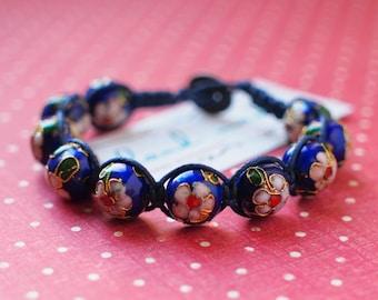 Blue flowers Cloisonne Bracelet  with button for closure