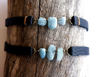 Aquamarine Leather Choker -Light Blue Gemstone Choker -Aquamarine Collar Necklace -Choker Necklace -Soft Grunge Jewelry - Soft Grunge Choker