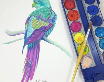 Tropical parrot, original painting by Francesca Licchelli, gift idea for birds lovers, traditional decore, home office decoration, bedroom.