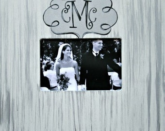Personalized Wedding Couple Monogram Picture Frame 4x6 in Silver Stripes, Hand-Painted, Custom Made,Engagement,Newlywed,Wedding,Family Frame