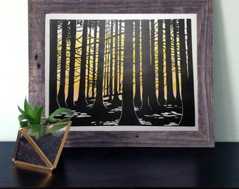 Sunset in the Forest Linocut Print
