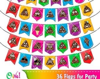 Banner Party Kit Poop Party Decorations Printable Bunting Flag Poop Download Emoji Banner Instant download Funny Poop banner Emoji Banner