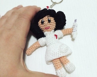 Nurse Amigurumi uniform white Miniature doll crochet key chain-gift for her