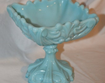 Vintage Turquoise Blue Milk Glass French Pedestal Compote Dish.