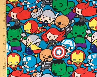 Marvel Kawaii Super Hero Fabric, Avengers Fabric, Hulk, Spiderman, Ironman, Captain America all in pack Cotton Fabric