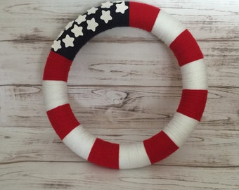 American Flag Wreath, Patriotic Wreath, Yarn Wreath, Yarn Wrapped Wreath, Patriotic Decor, 4th of July Wreath, Handmade, Front Door Wreath