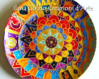 MANDALA-glazed porcelain plate