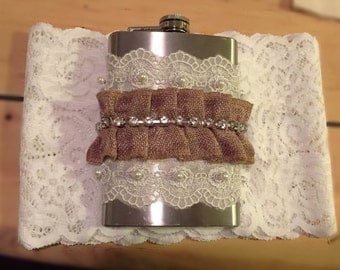 Burlap and Lace Flask Garter