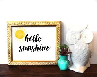 Hello Sunshine, Typography Print, Watercolor, Printable Art, Digital Print, Sunshine, Spring, Spring Decor, Kitchen Decor, INSTANT DOWNLOAD