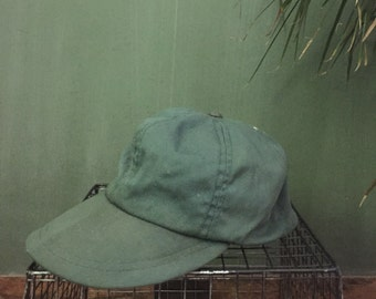 Vintage Olive Canvas Hat Size Small