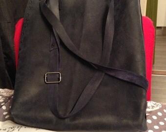 Donkerkblauw leather shoulder bag