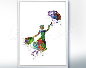 Disney Mary Poppins Watercolor Poster Print - Wall Decor - Artwork- Painting - Illustration - Home Decor - Kids Decor - Nursery Decor [2]