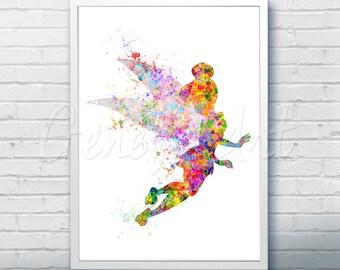 Disney Tinkerbell Fairy Pixie Dust Watercolor Art Poster Print - Wall Decor - Artwork - Home Decor - Kids Decor - Nursery Decor [1]