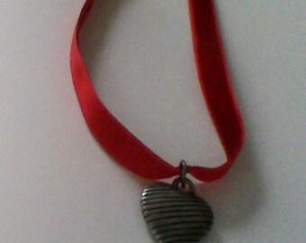 red velvet heart charm choker
