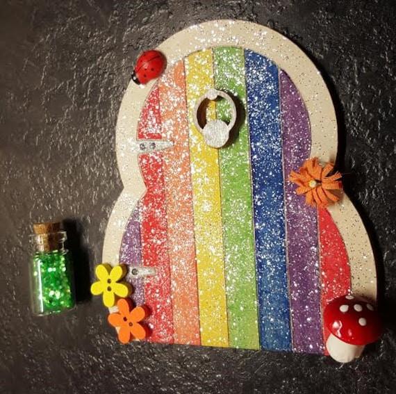 Items similar to glitter rainbow fairy door tooth fairy for Rainbow fairy door