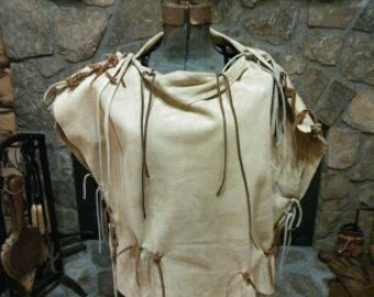 Leather cowl neck with fringe top