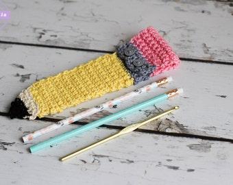 Pencil Shaped Crochet Pencil Pouch Pattern bag pocket pdf instant digital download back to school supplies teacher gift