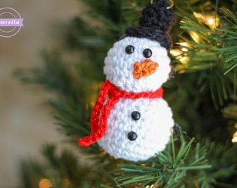Crochet Snowman Christmas Ornament Pattern pdf instant digital download holiday gift tree frosty the snowman