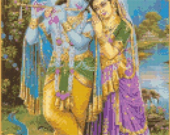 Krishna and Radha Hindu God and Goddess Cross Stitch pattern - PDF - Instant Download!