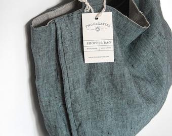 FREE SHIPPING Blue shopper bag with zippers - Linen bag - Groceries eco bag  - Linen tote bag - Market bag - Shoulder bag