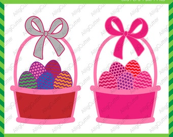 Easter Basket with Eggs Patterned SVG DXF PNG eps Monogram Cut File for Cricut Design, Silhouette studio, Sure Cut A Lot, Makes the Cut