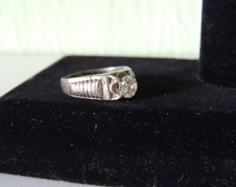 Clear CZ Sterling Silver Old and Old Fashioned Ring