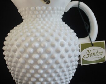 Fenton White Hobnail Milk/Water Picture NWT
