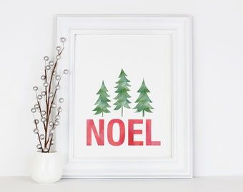 Noel Sign, Christmas Prints, 5x7, 8x10 Print, Instant Download, Holiday Decorations, Printable Art, Seasonal Party Decor, Digital Download