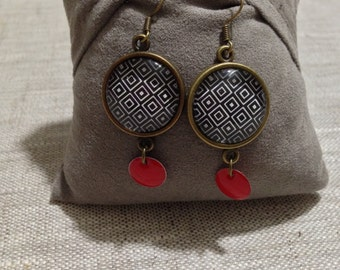 Earrings cabochon and sequin - geometric - red & Black