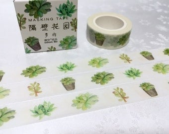 Succulent plant washi tape 7M cute plant fat plant Green plant potted plant Masking tape plant diary gardening planner scrapbook decor
