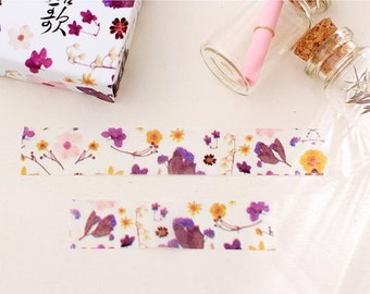 Purple yellow flower masking tape 10M watercolor color flower washi tape flower pattern sticker tape dry flower theme diary scrapbook gift