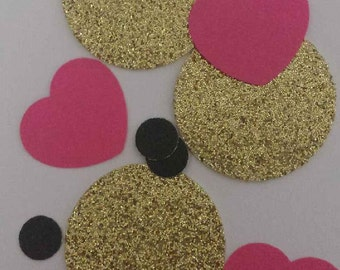Black & Gold Circle Confetti With Pink Hearts, Table Decor, Wedding, Birthday Celebration, Confetti, Party, Valentine's Day, Anniversary