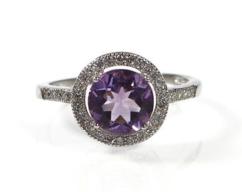 Genuine Amethyst Ring, CZ White Sterling 925 Silver Pave Ring, Cubic Zirconia Ring, Made in Italy Ring