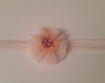 Pink and peach flower headband