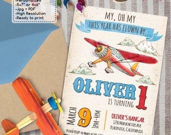 Time has flown by Airplane Birthday Party invitations DIY Vintage Airplane printable Birthday invite
