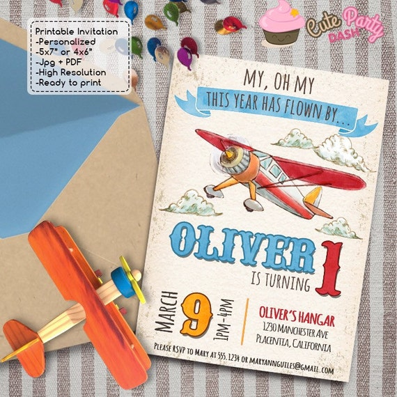 Time Has Flown By Airplane Birthday Party Invitations DIY