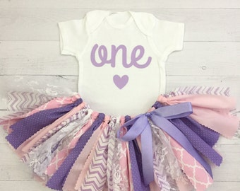 Pink and Purple/Lavender Birthday Outfit, Fabric Tutu, Baby Girl Pink and Purple Birthday
