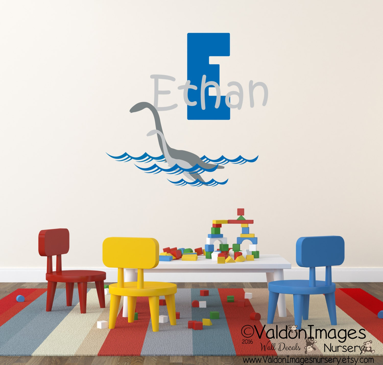 plesiosaurus name wall decal nursery wall decal kids wall. Black Bedroom Furniture Sets. Home Design Ideas